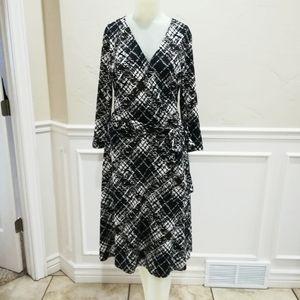Bcbg maxazria black and brown faux wrap dress